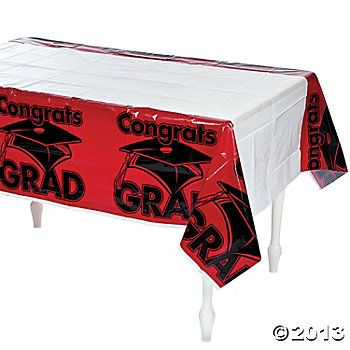 "Red ""Congrats Grad"" Table Cover"