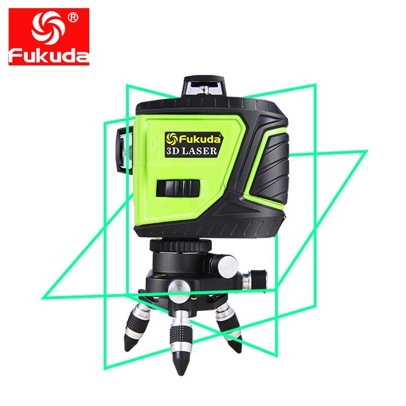 Fukuda Rotary Laser Level 360 12 Lines 3d Green Beam Laser Leveler Self Leveling Horizontal Vertical Cross Laser Line Mw 93t New
