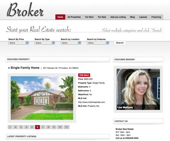 Broker Real Estate is a WordPress 3.0+ compatible real estate theme ...