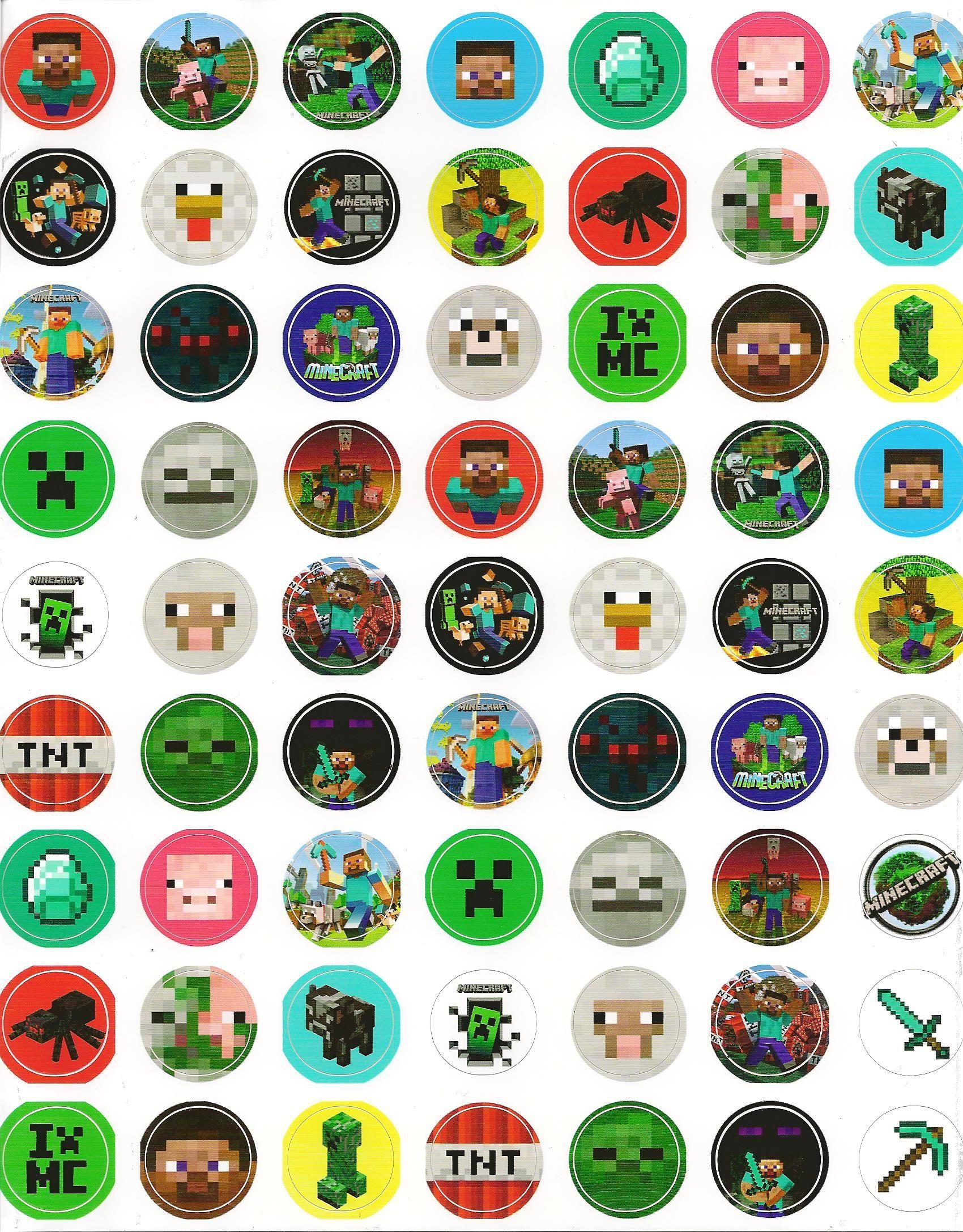 Minecraft 1 sticker sheet sheet of 1 inch round vinyl die for Stickers de pared