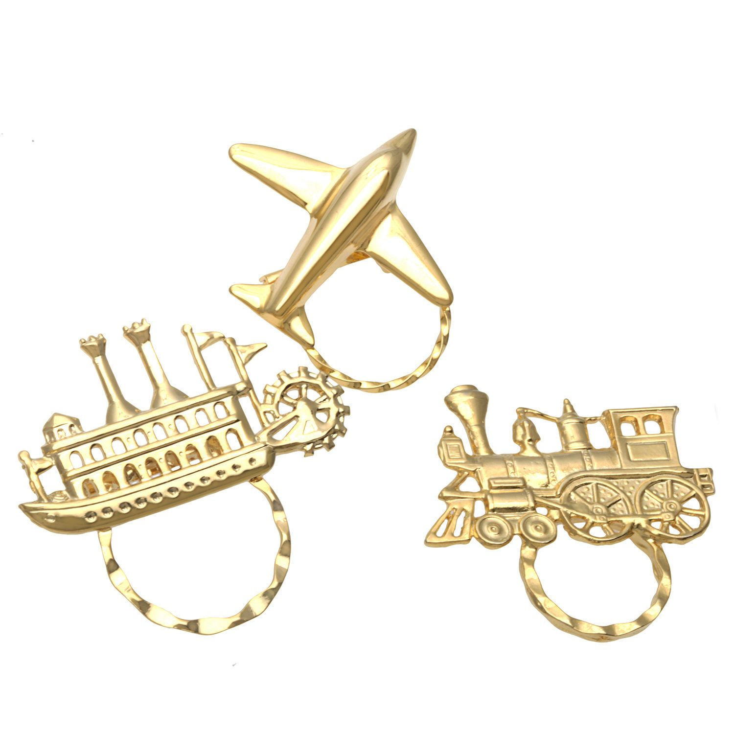 Detti Originals Spec Train Steamboat and Airplane 3-piece Spectacle Brooch Set