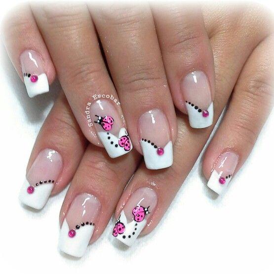 uñas frances V puntos | Manicura de uñas, Uñas mariquitas ...
