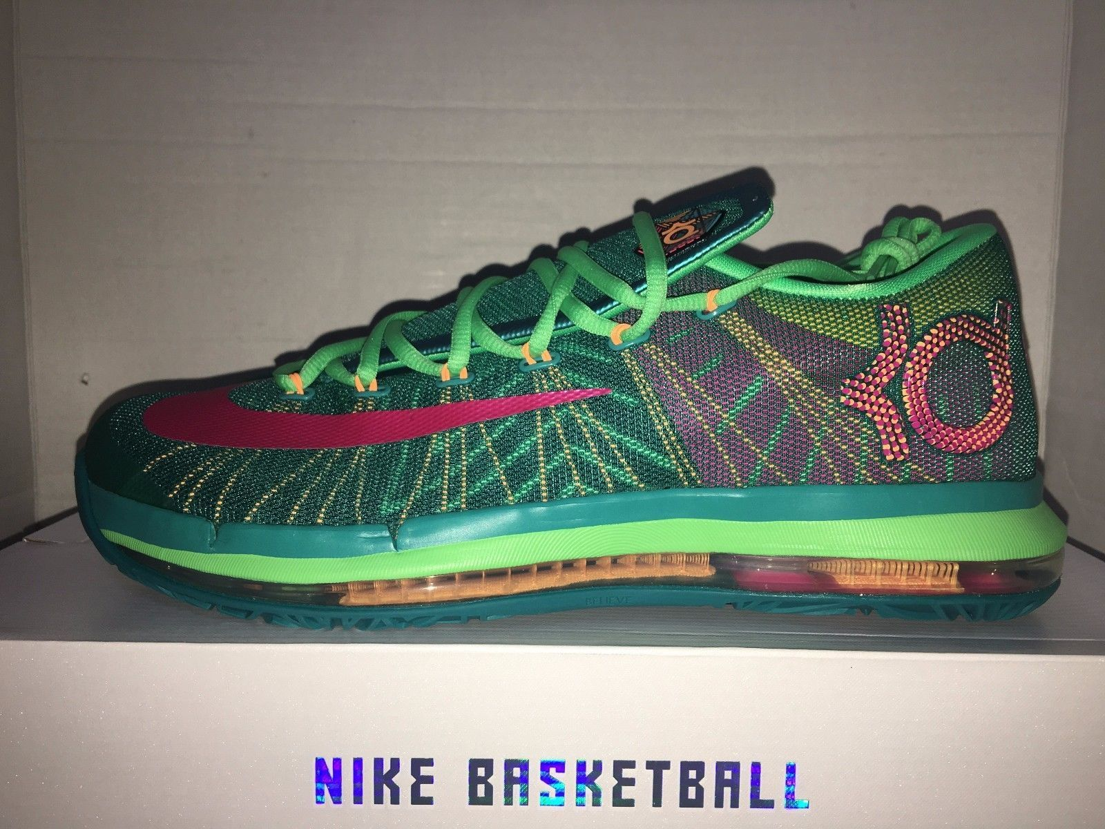 885a5920df8 Nike Air Zoom Kevin Durant KD VI 6 Elite Hero Turbo Green Pink 642838 300 -  Athletic