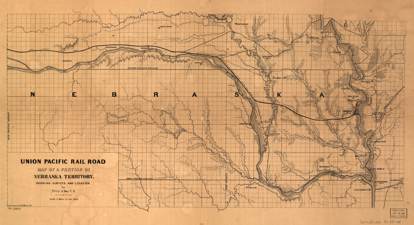 This Is An Union Pacific Railroad Map Of Nebraska Territory - Map of nebraska towns