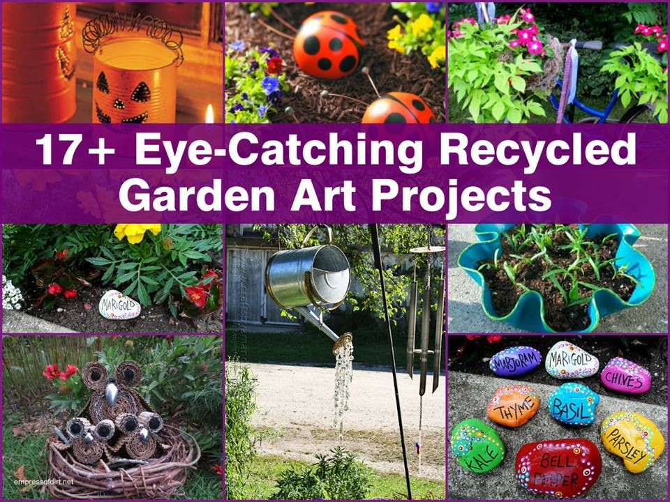 17 diy recycled garden art ideas garden junk for Garden decorations from recycled materials