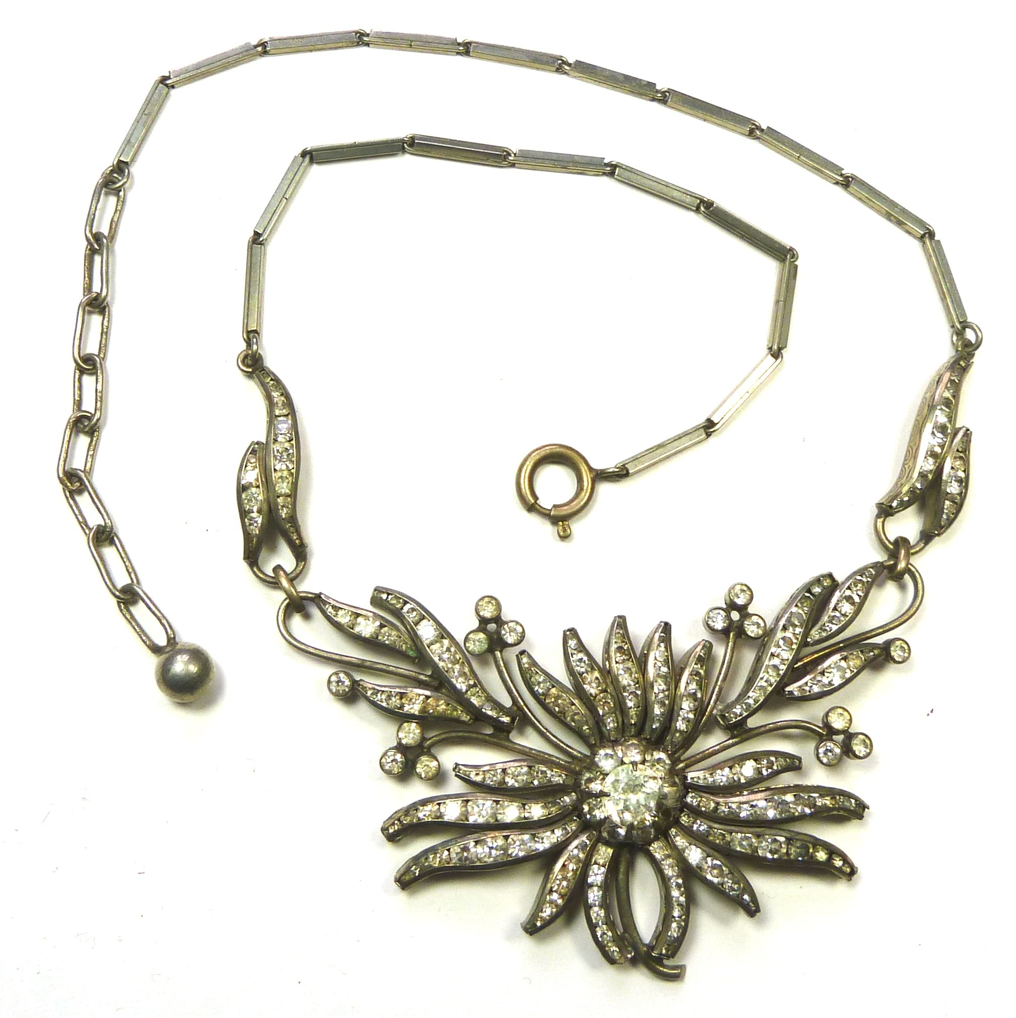 Art Deco, channel set, diamante necklace. Unusual in that it is floral - rather than the usual geometric designs.  Photograph by Gillian Horsup