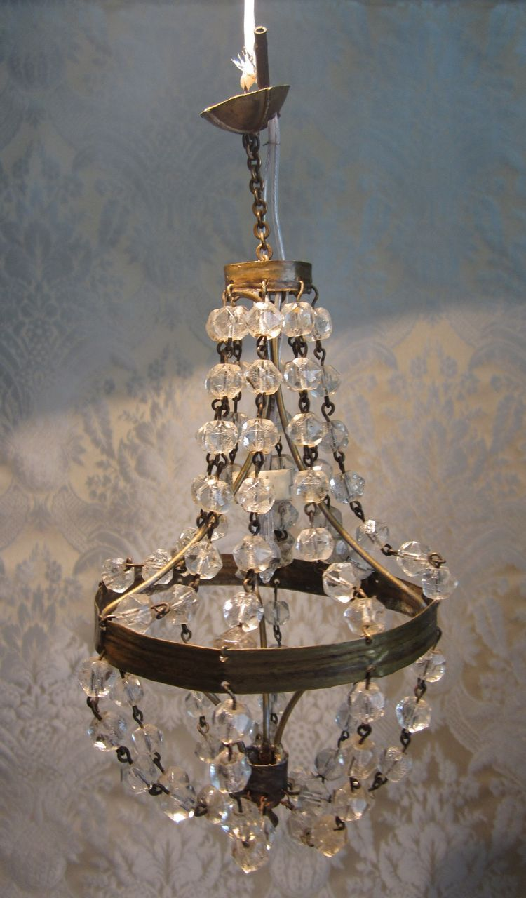 Sublime Antique Miniature Crystal Chandelier For Doll Display
