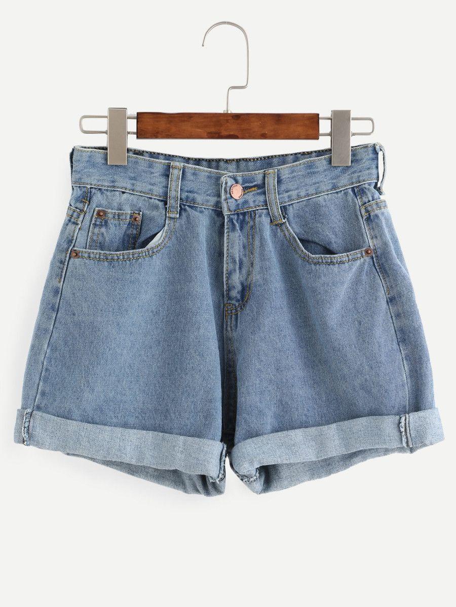 Photo of Rolled Hem Denim Shorts-Shein (Sheinside)