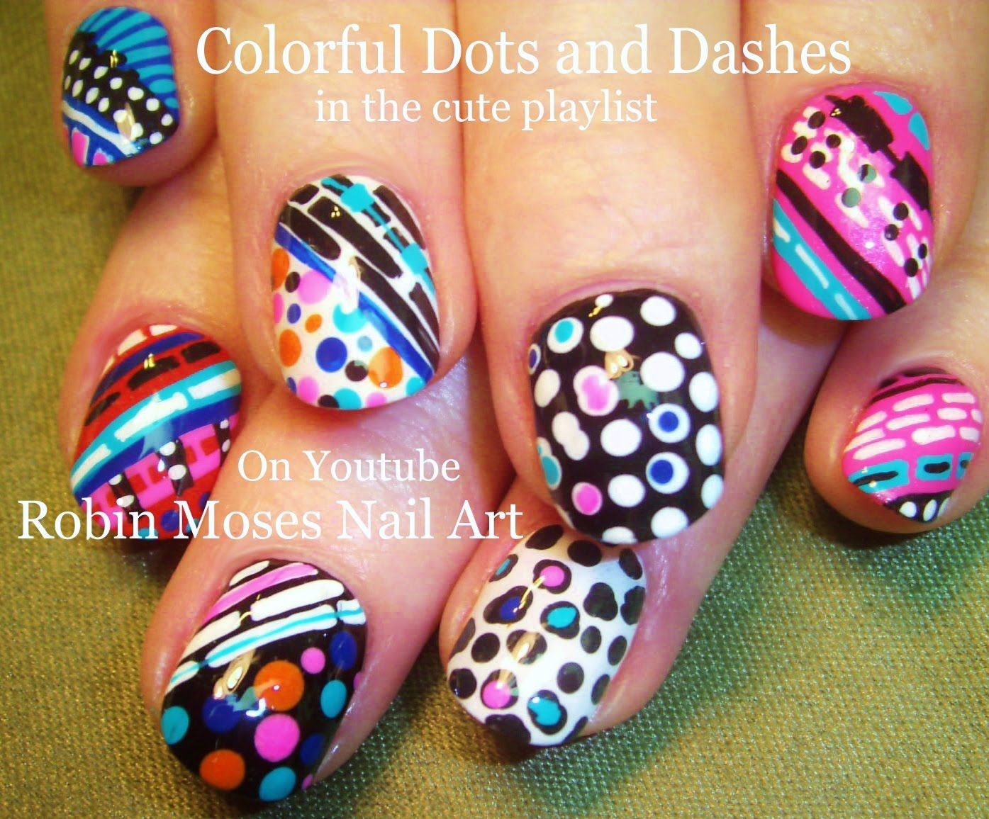 Nail Art Tutorial | Stripes & DOT Nails | Fun and Crazy Nail Design ...