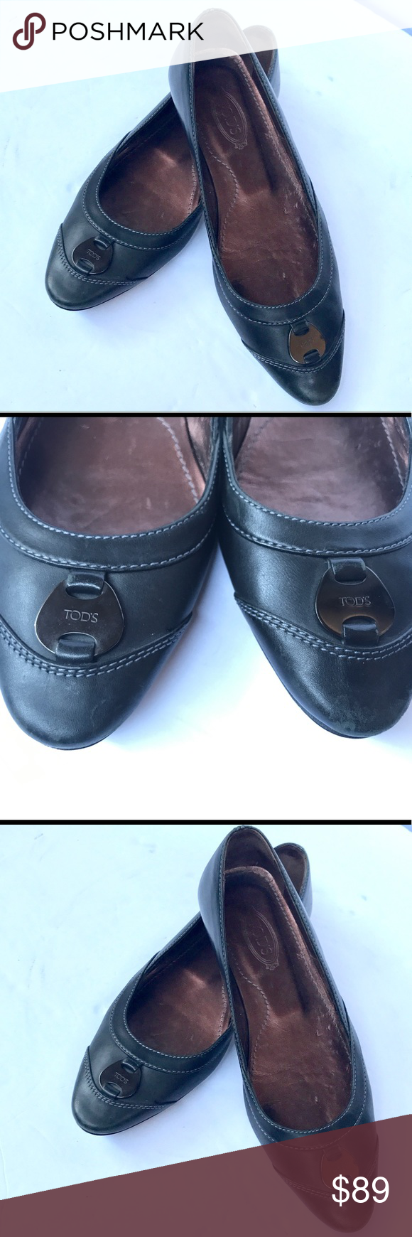 Tod's Grey Leather Flats Sz 6.5 Super pretty.. Some obvious signs of wear, but over all vey beautiful and in great condition. ❤️💛💙💜 Tod's Shoes Flats & Loafers