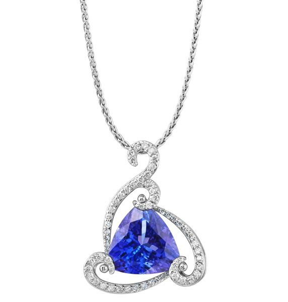 Parle Jewelry Designs trillion tanzanite pendant