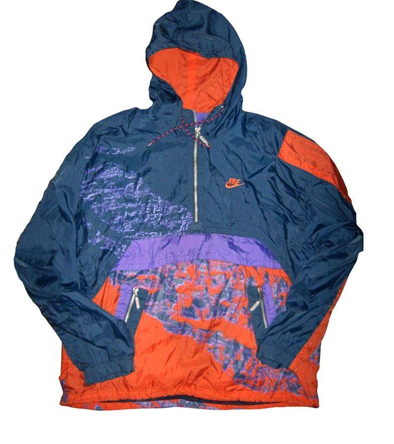 Vintage 90s Nike Swoosh Windbreaker 1 4 Zip Pullover Multicolor Size L By Vapeovintage On Etsy Tracksuit Tops Nike Workout Tops 90s Jacket