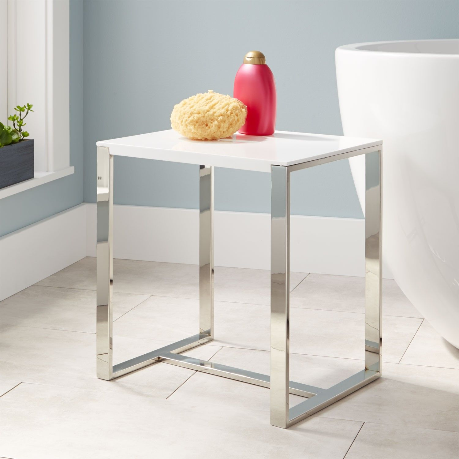 Paley+Resin+Bath+Stool+-+White+Gloss+Finish+with+Stainless+Steel+ ...