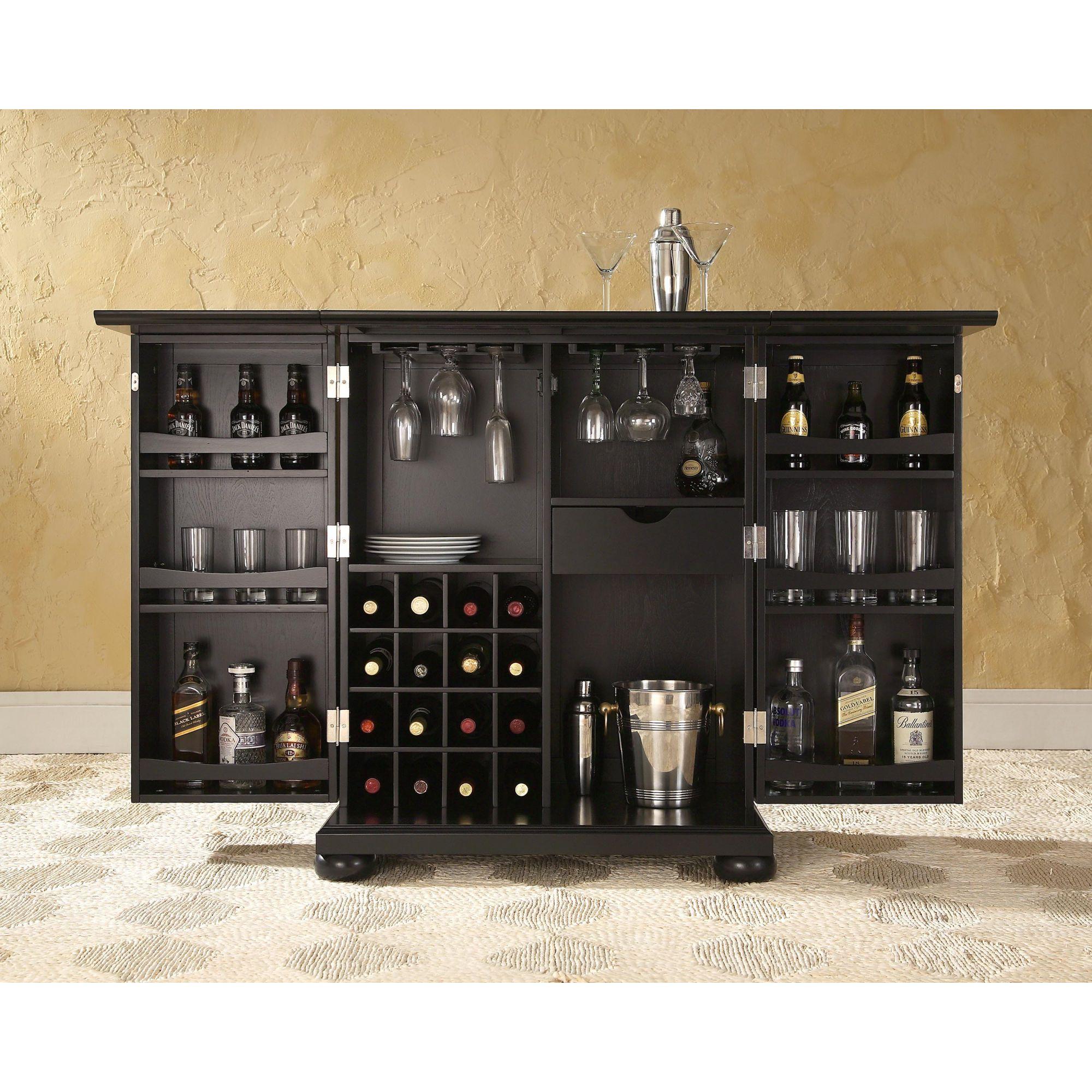 Alexandria Expandable Home Bar Liquor Cabinet: Crosley Alexandria Expandable Bar Cabinet In Black
