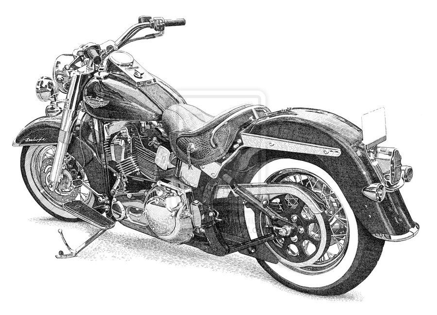 Dessin Moto Custom coloriage à imprimer : véhicules - moto - harley-davidson numéro