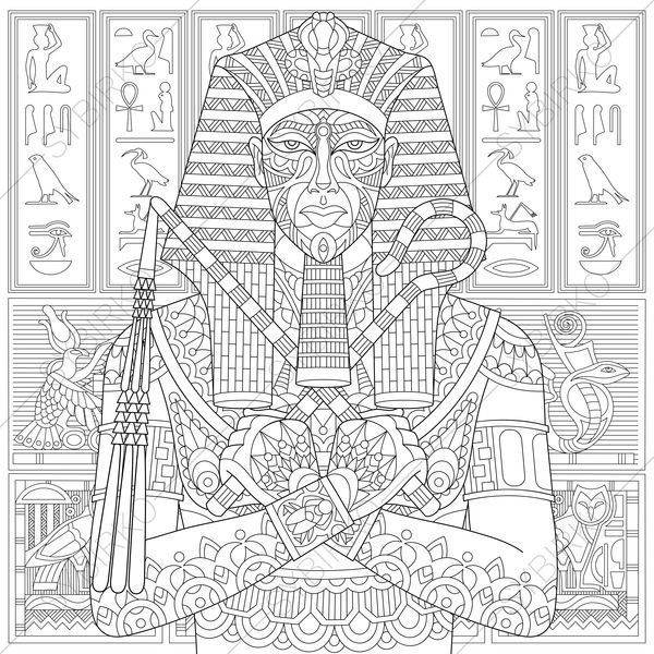 Stylized Ancient Pharaoh And Egyptian Symbols Hieroglyphs On The Background Freehand Sketch For Adult Anti Stress Coloring Book Page With Doodle