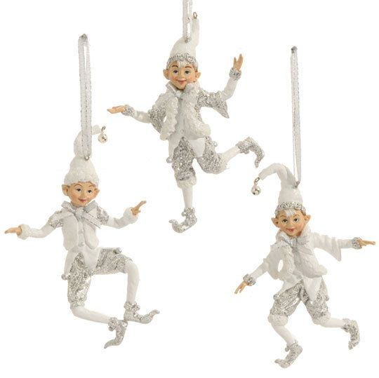 Shelley B Home and Holiday - RAZ Elf Resin Christmas Ornaments in White, set of 3, $27.00 (http://shelleybhomeandholiday.com/raz-elf-resin-christmas-ornaments-in-white-set-of-3/)