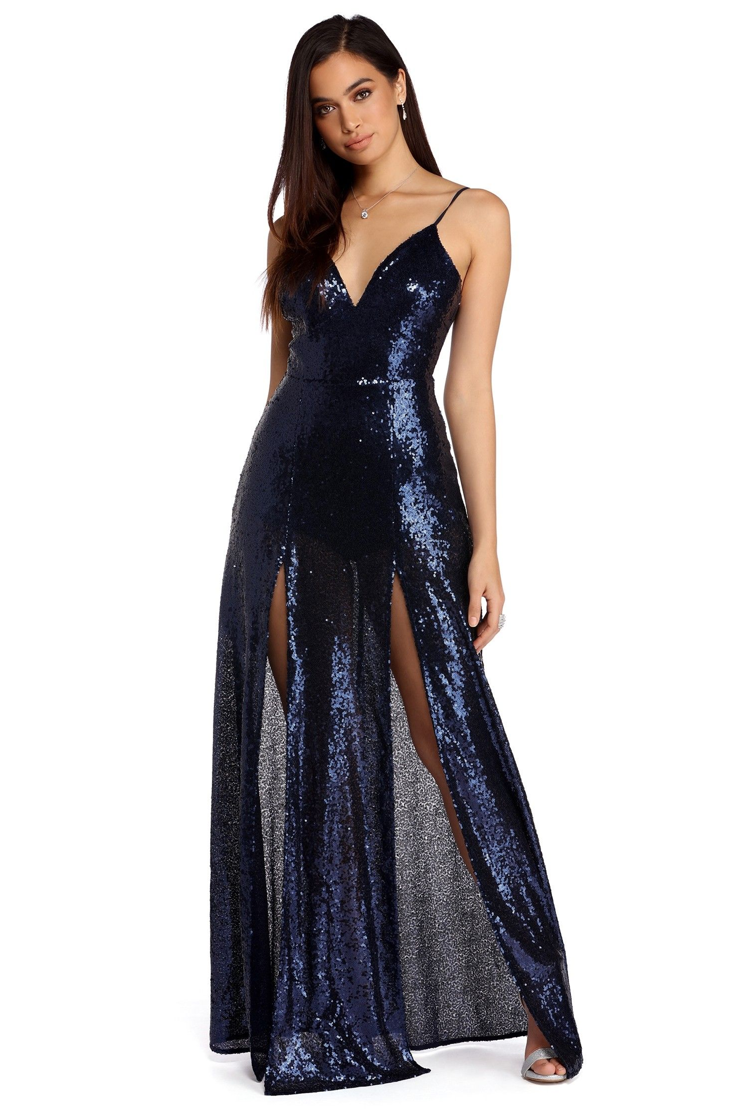 1c4455fe4172 FINAL SALE -Haven Navy Double Slit Sequin Dress | .dresses + skirts ...