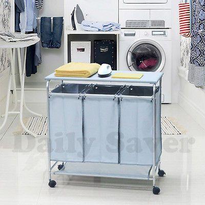 49 95 Free Ship Laundry Hamper 3 Washing Basket Bag Sort Ironing