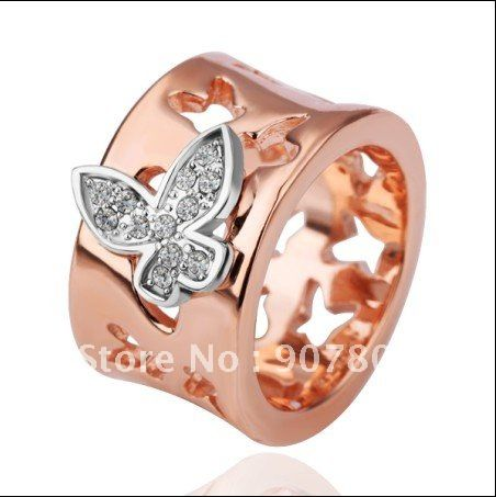 Wholesalefashionjewelryplated18Krosegoldcrystalbutterfly