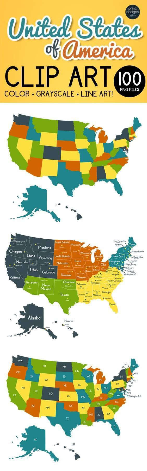 United States Clip Art PNG Files of USA Maps | All the ...