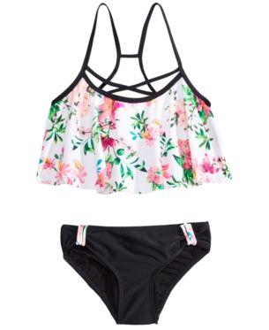 90788c7968 Summer Crush Big Girls 2-Pc. Floral-Print Bikini Swimsuit - White 8 ...