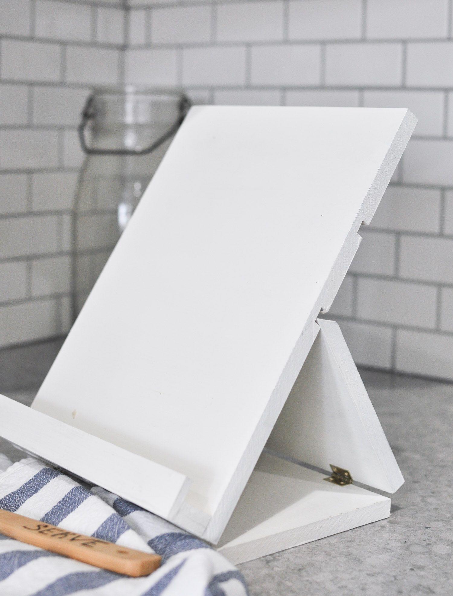 Foldable Recipe Stand Free Plans Cherished Bliss Diy Book Stand Cookbook Holder Diy Diy Book Holder