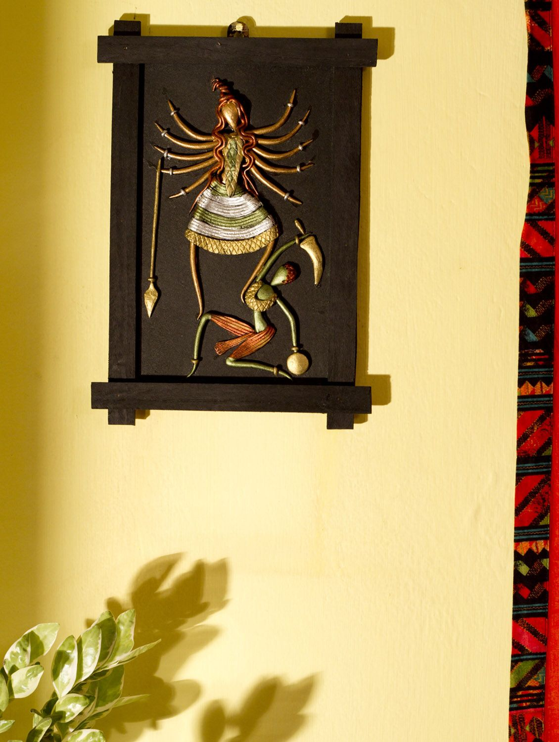 Terracotta Shiva-Durga fighting Evil Wall Hanging at GroupShoppy ...