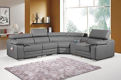 Dakota Grey Bonded Leather Corner Sofa Right Hand Leather Corner