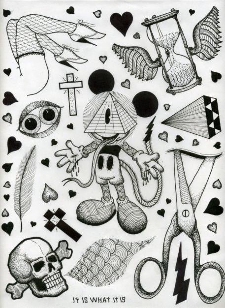 David M. Cook Tattoo flash sheet, Flash tattoo, Picture