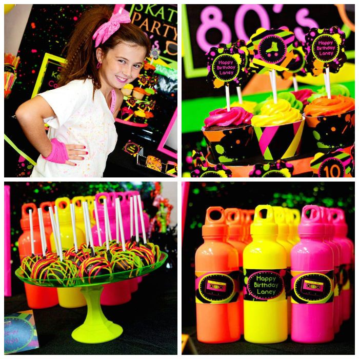Neon 80 39 s skate themed birthday party via kara 39 s party for 80 birthday decoration ideas