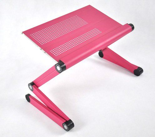 """Adjustable Vented Laptop Table Laptop Computer Desk Portable Bed Tray Book Stand Push Button Joints up to 17"""" (Pink) topseller100,http://www.amazon.com/dp/B00DOJXANS/ref=cm_sw_r_pi_dp_EXhttb18YSATJX1X"""