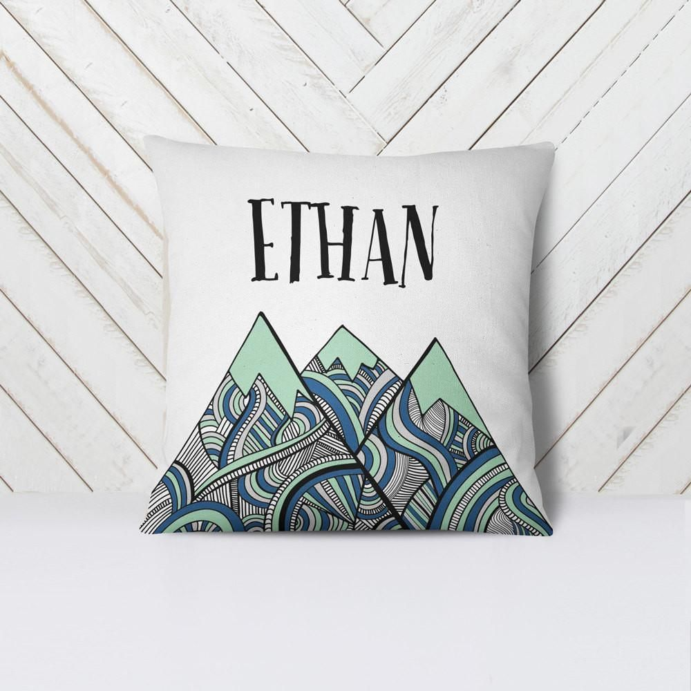 43740e44a9c4 Customized Name Throw Pillow Cover - Tribal Mountains - Boy Nursery ...
