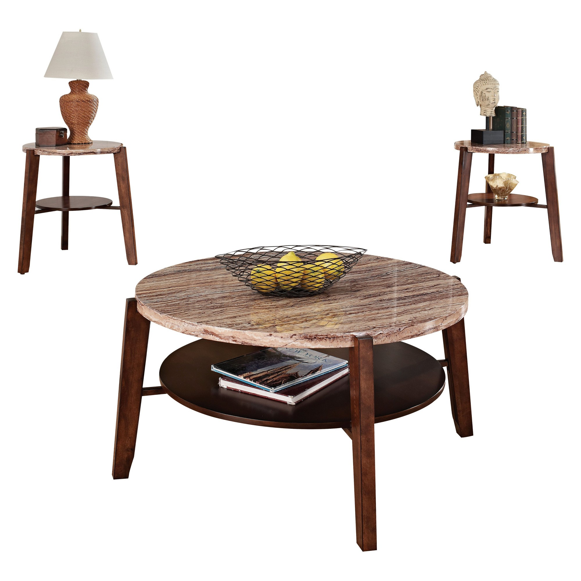 Best 3 Piece Nadav Pack Square Coffee End Table Set Faux Marble 400 x 300