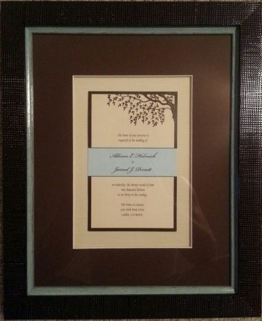 This Wedding Invitation Is Framed With Two Linen Mats The Top Mat Raised And Stacked By Fotiou Frames