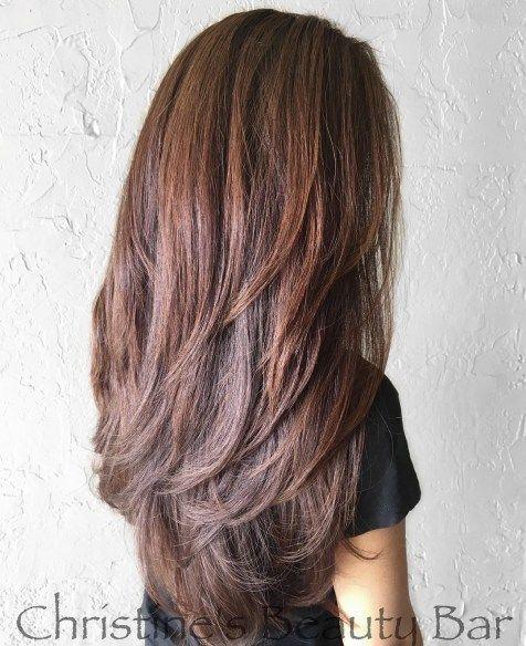 Rötlich-brauner Stil mit langen V-Cut-Schichten – #lange #langen #mit #Rötlich…