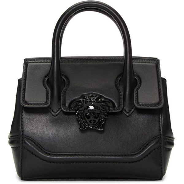 Versace Black Mini Palazzo Empire Bag (€1.270) ❤ liked on Polyvore featuring bags, handbags, shoulder bags, black, versace shoulder bag, zipper purse, striped handbags, flap purse and clasp purse