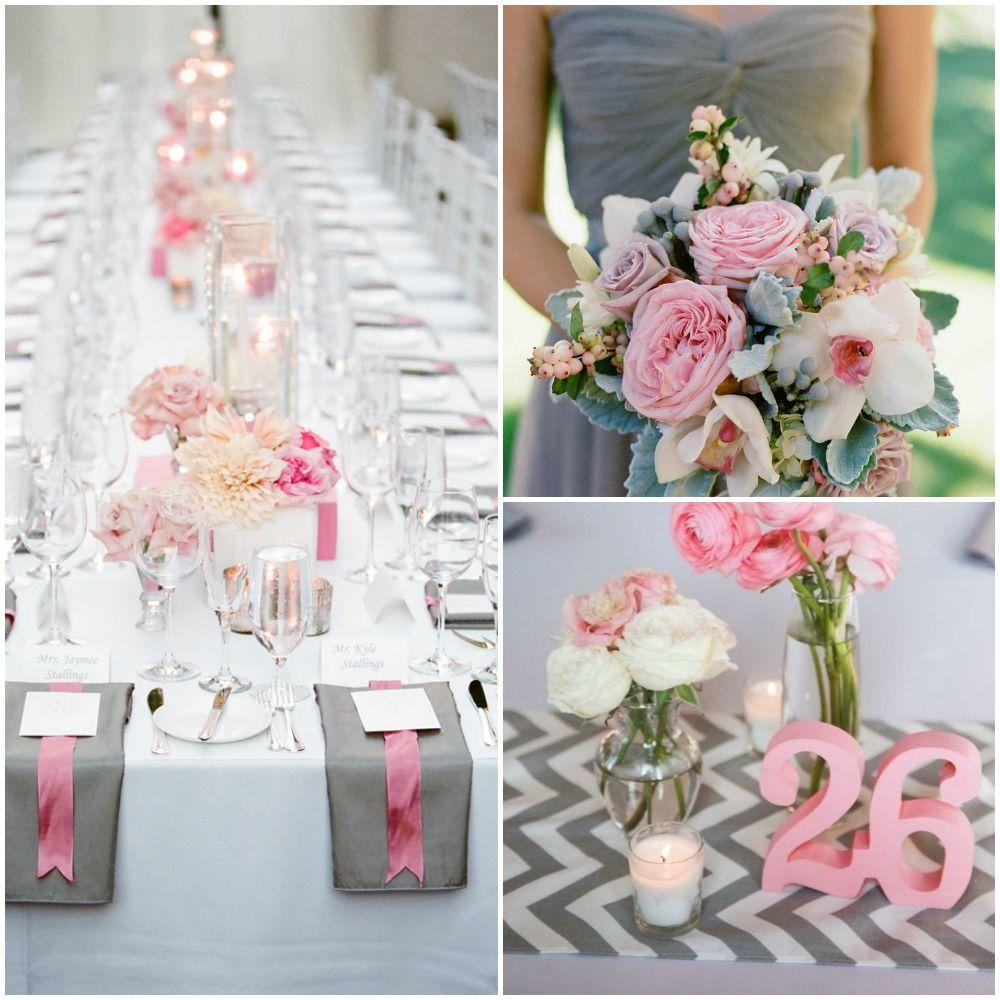 Pink and Gray Chevron Wedding Inspiration | Inspiration, Wedding and ...