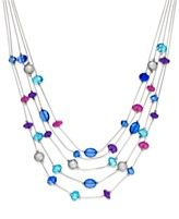 Style&co. Silver-Tone Purple and Blue Five-Row Illusion Necklace
