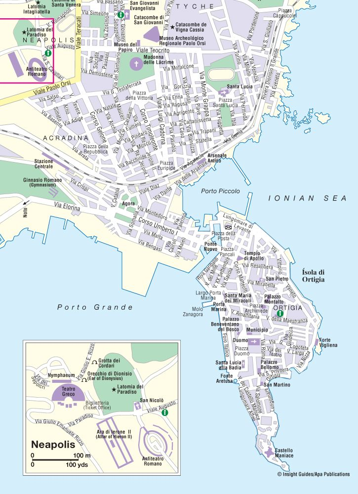 Map of Syracuse Think Sicily Mapa, Papiro, Mafia