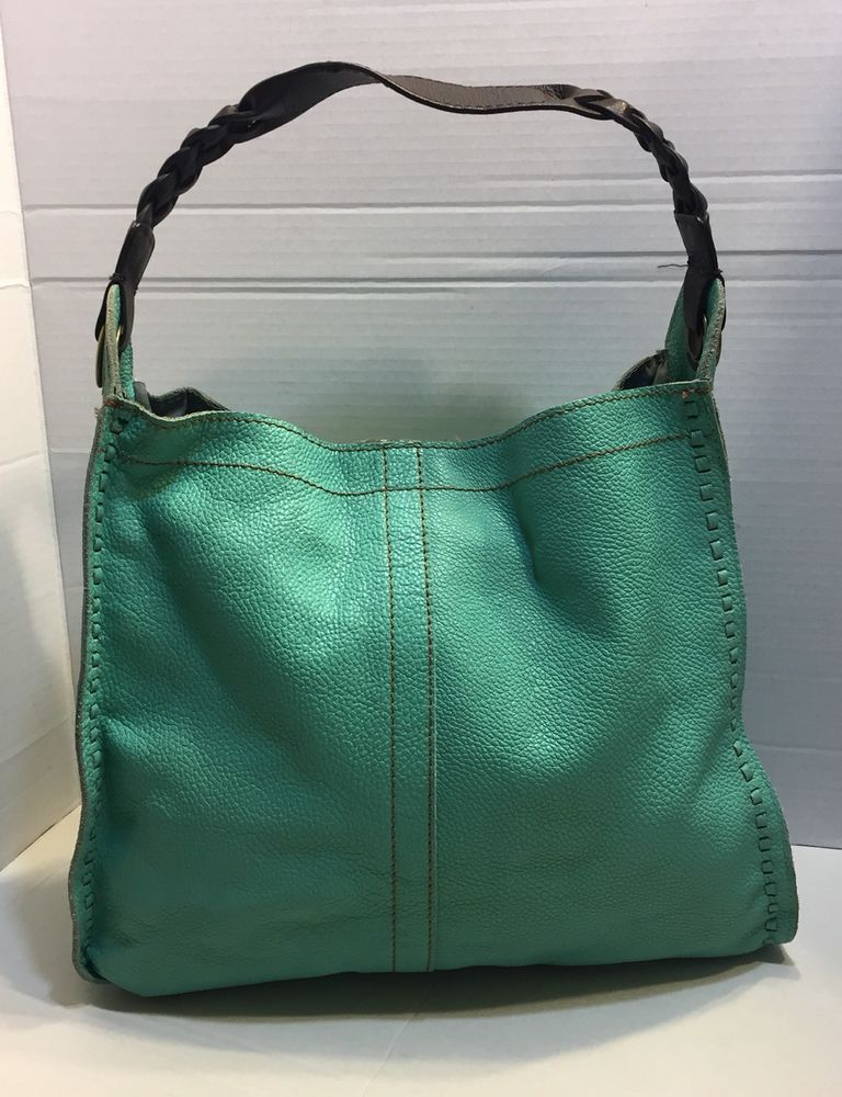 Lucky Brand Turquoise Pebbled Leather Slip Sch Hobo Hand Bag Purse Ebay