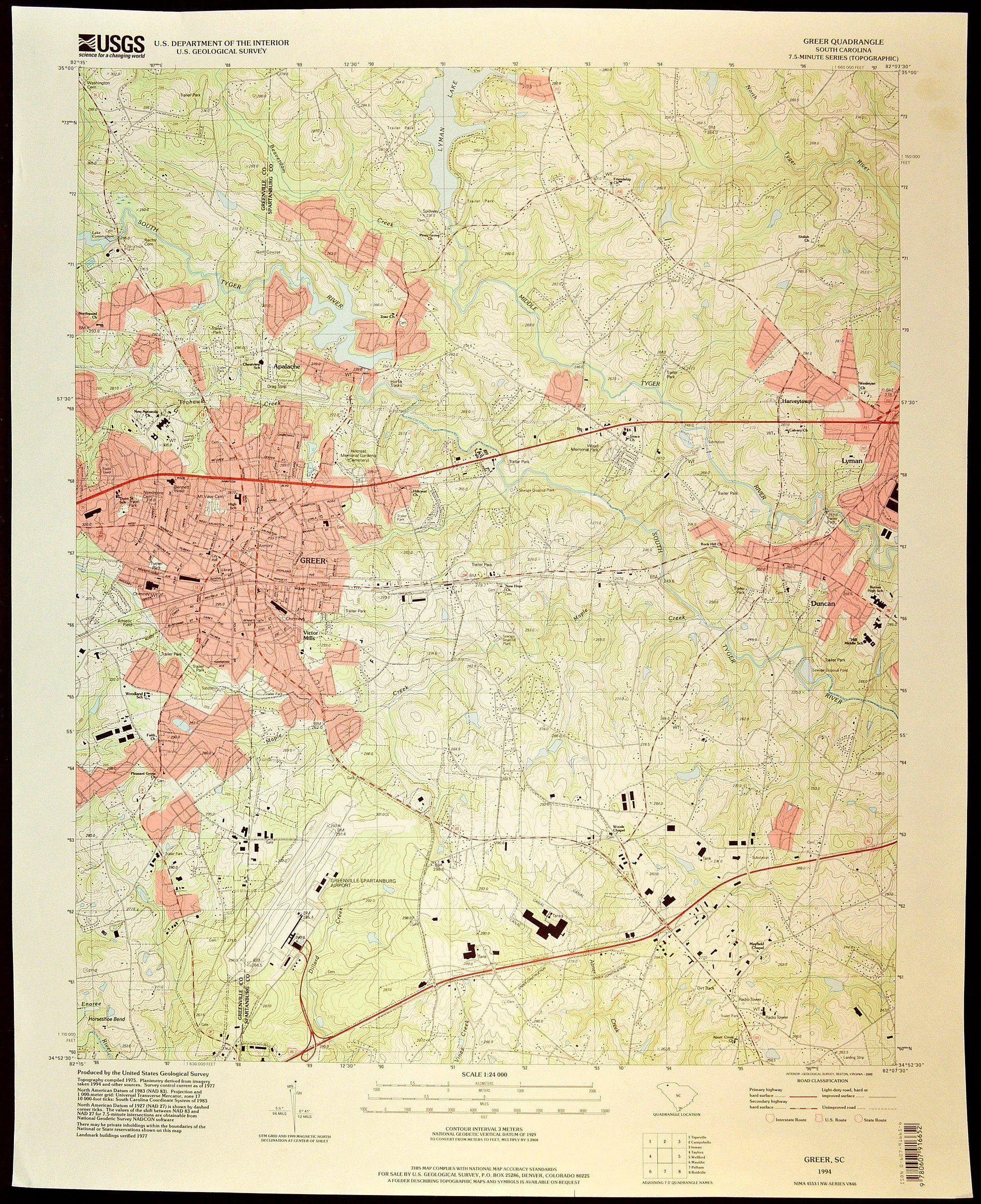 Greer Map Of Greer South Carolina Art Print Wall Decor Large