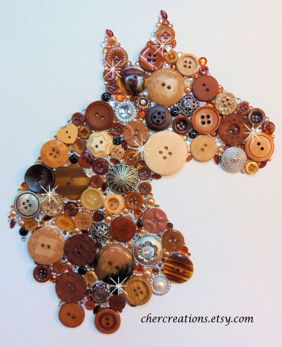 HORSE brown tones with bling 8x10 Button by CherCreations on Etsy.