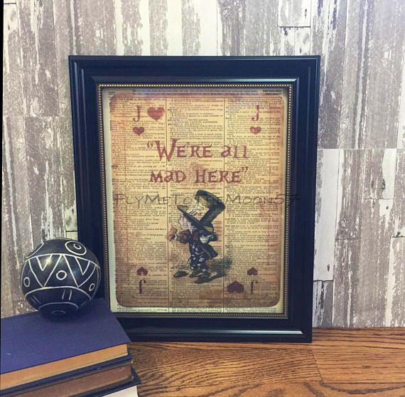 Alice in Wonderland Wall Art MAD HATTER on Playing Card color | All ...