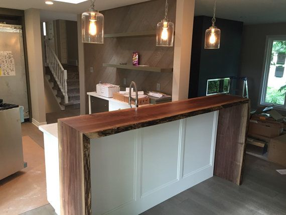 Live Edge Waterfall Breakfast Bar Spaces Kitchen