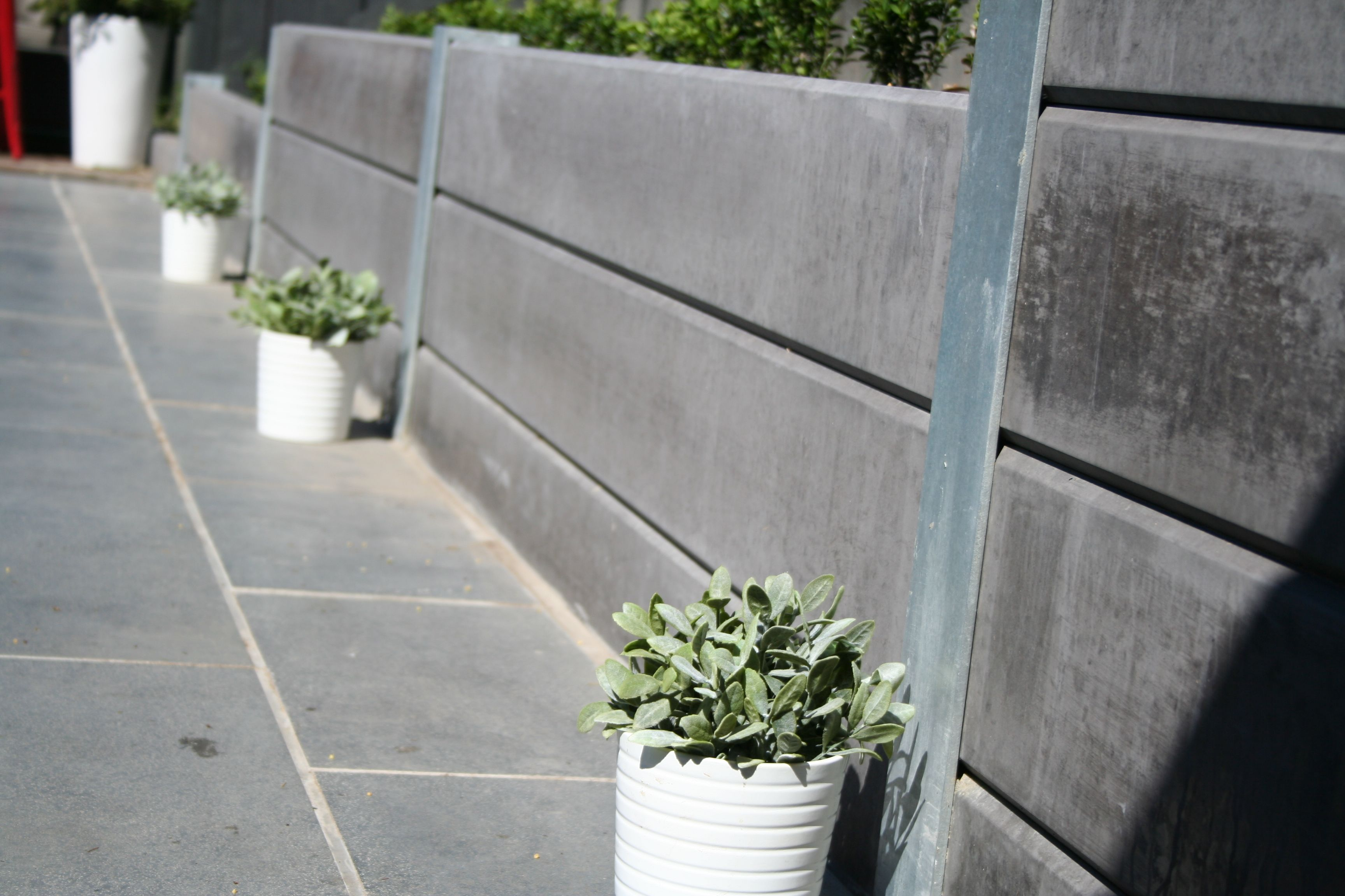 Classic Concrete Sleepers In Charcoal Poolside Concrete Fence Backyard Fences Concrete Sleepers
