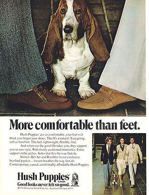 1978 Hush Puppies Shoes Basset Hound Dog Print Ad Hush Puppies Basset Hound Dog Hush Puppies Shoes