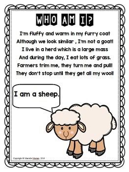 FARM ANIMALS Riddles- POEMS FREEBIE-Great for Language activities,  #Activities #animals #Farm #farmanimalsenglish #FREEBIEGreat #Language #POEMS #Riddles