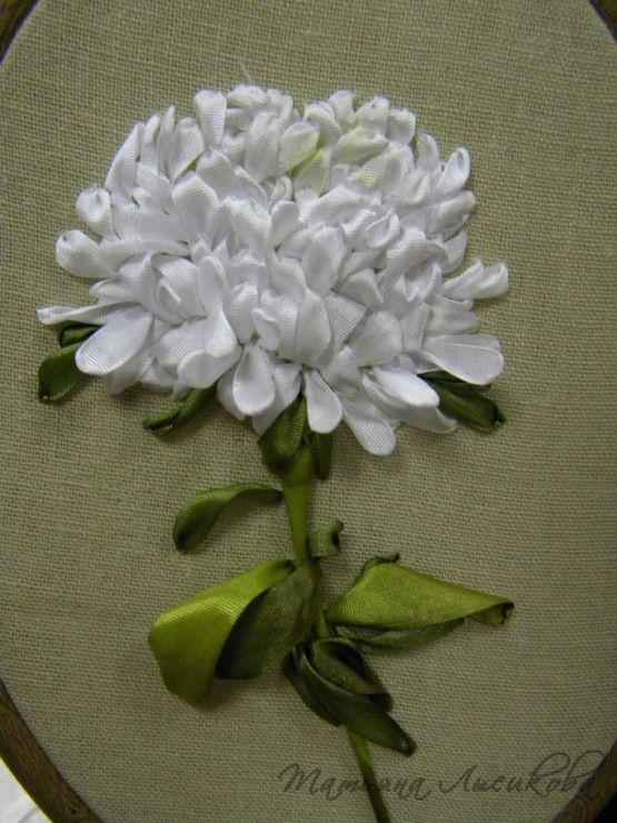White chrishanthum #ribbonEmbroidery