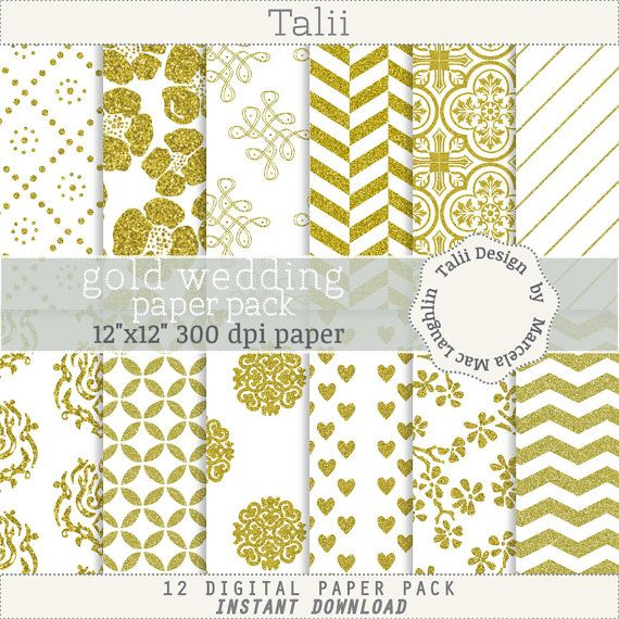 Gold Glitter Digital Paper GOLD WEDDING PAPER- 12 pages in white and gold, flowers, damask, flourishes, chevron, hearts, for wedding invites